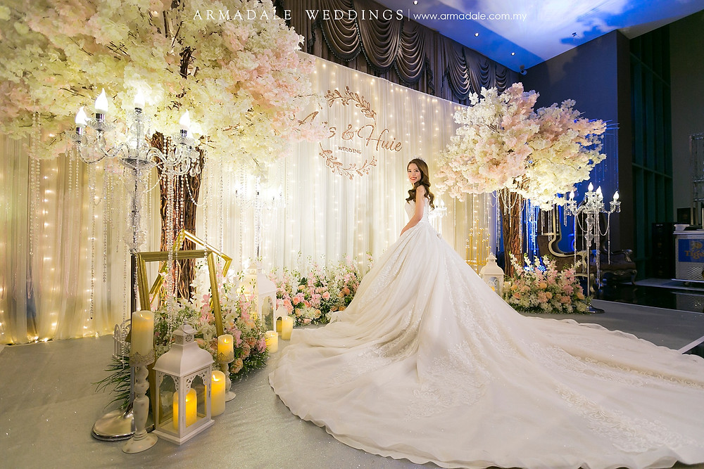 White ball gown with long train
