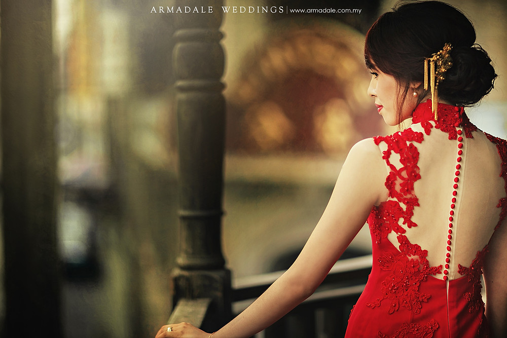 red cheongsam wedding