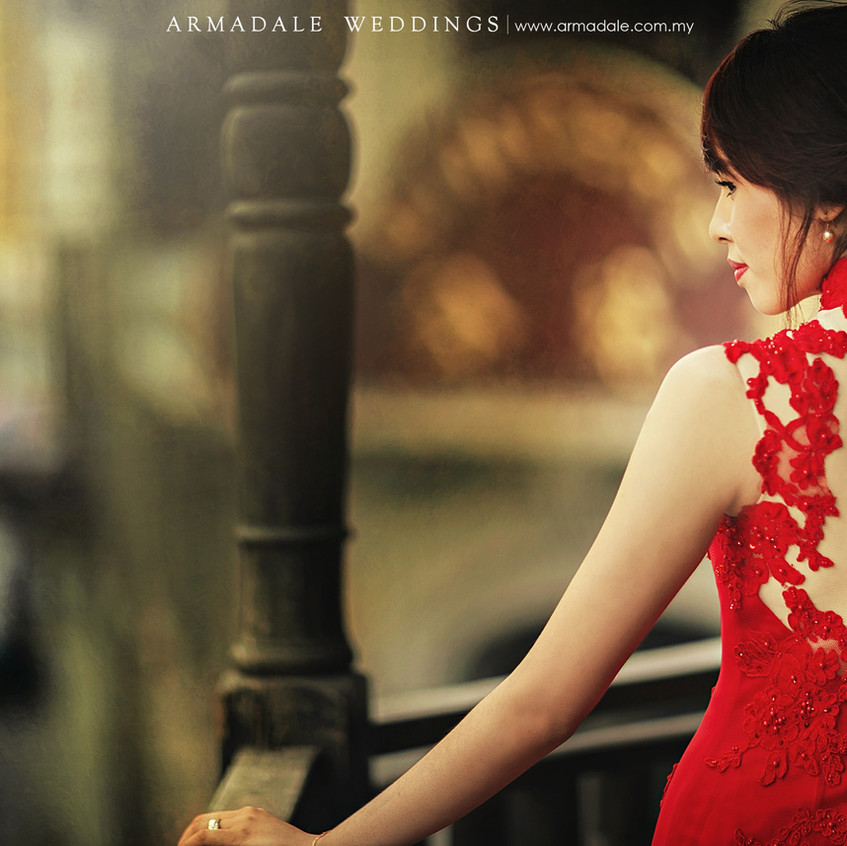 wedding cheongsam red gown