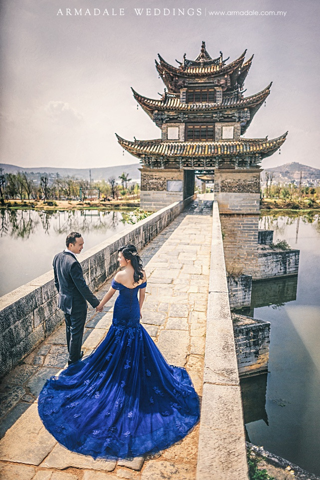 blue off shoulder trumpet gown destination wedding