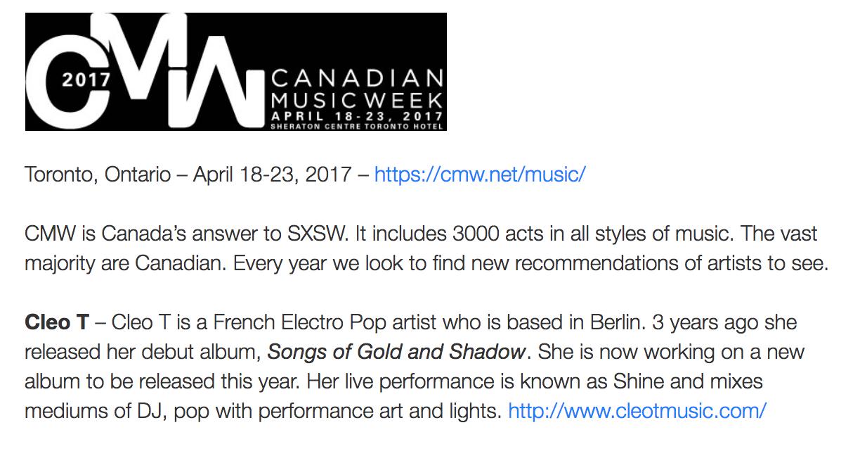 Clémence Léauté : Cleo T  press review for SHINE (Moonflowers)