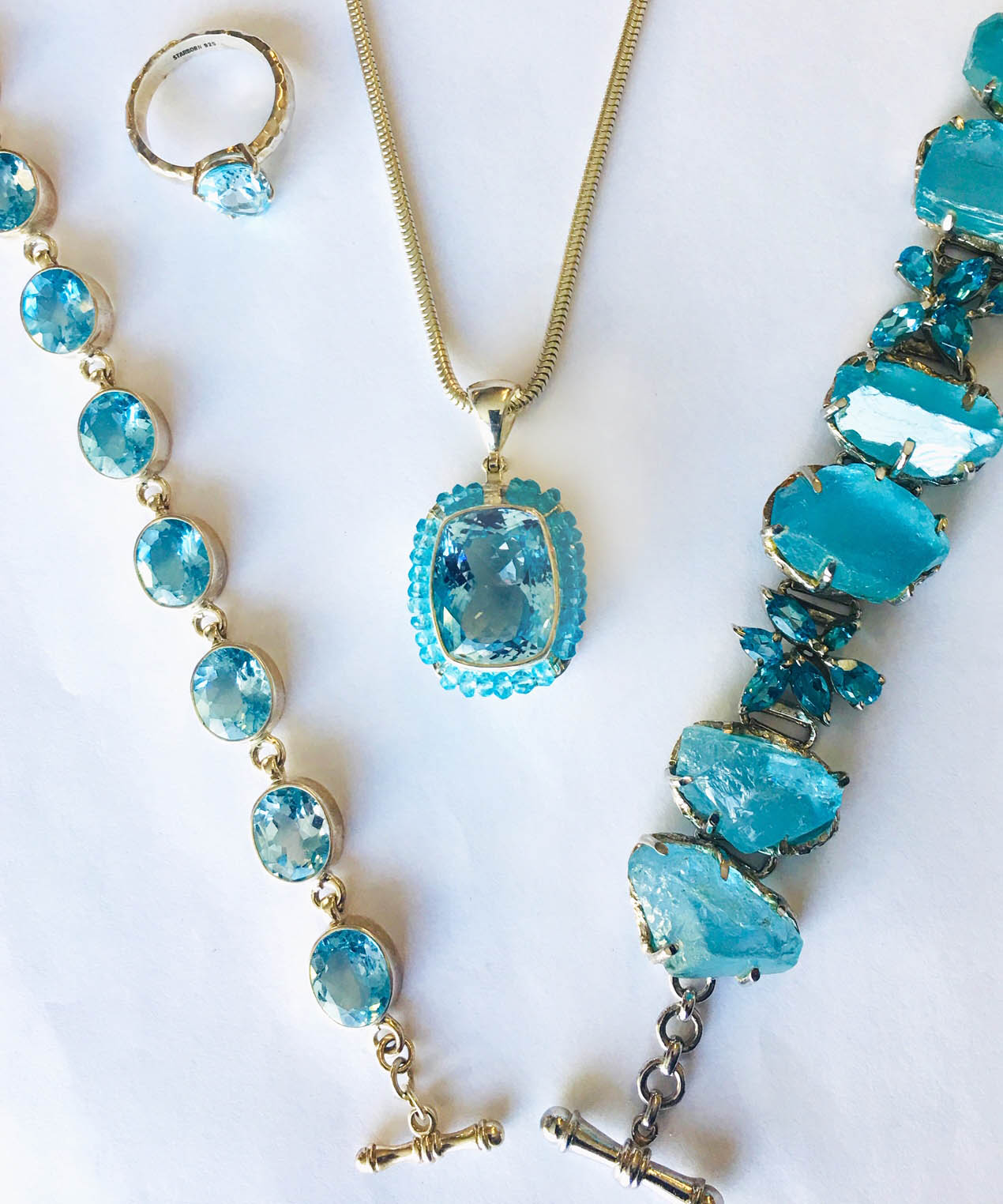 blue stone necklaces and ring