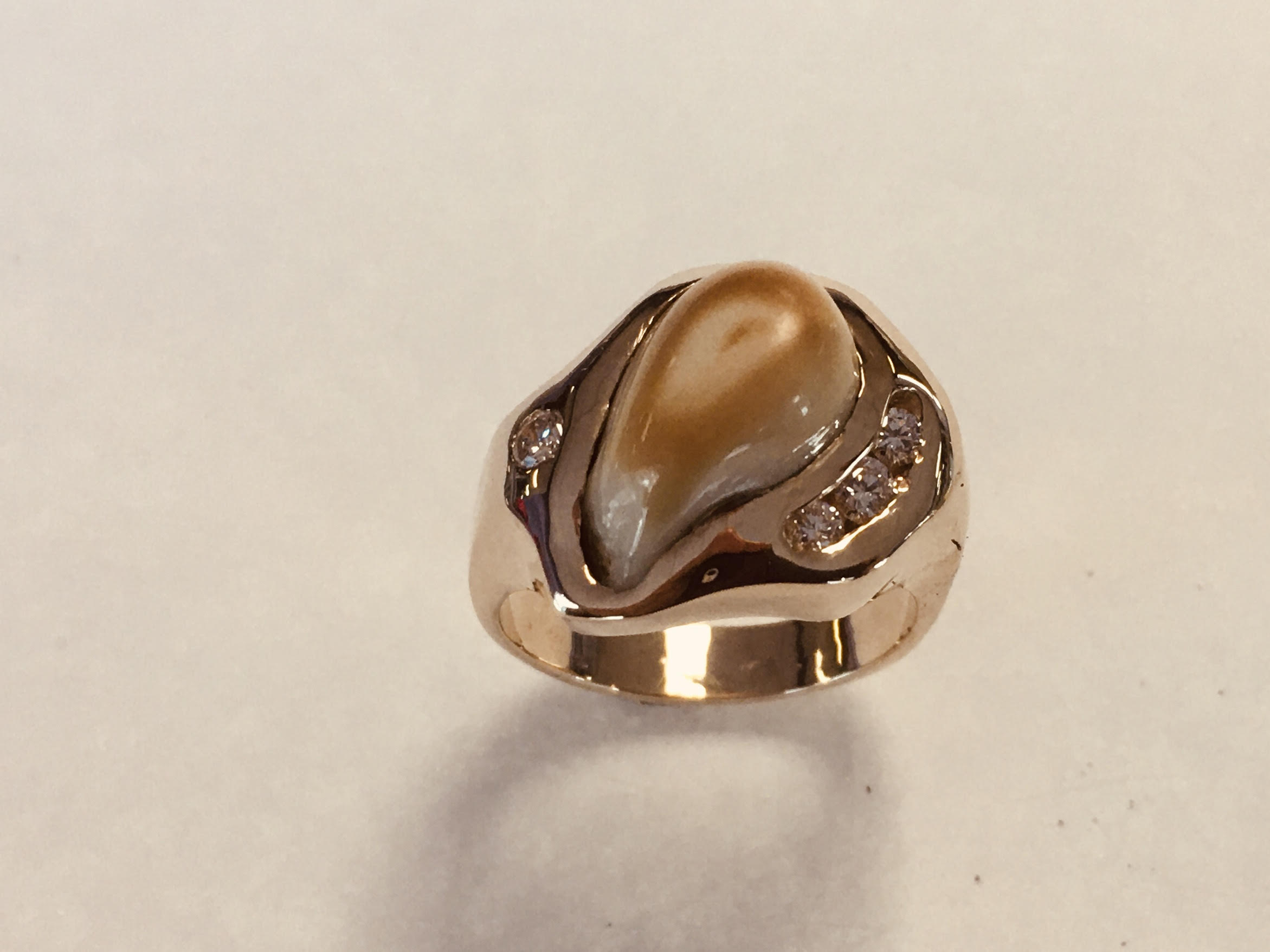 elk ivory and diamond ring