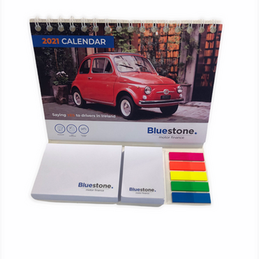 Calendar with sticky note pad and colour tabs