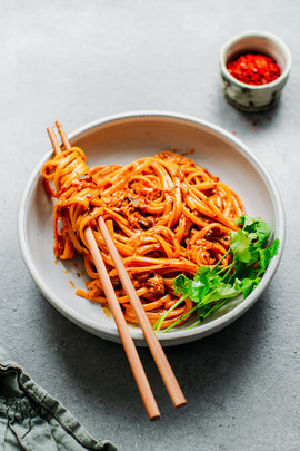 10 Minute Easy Chili Almond Butter Noodles