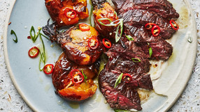 Hanger Steak with Tahini & Smashed Beets
