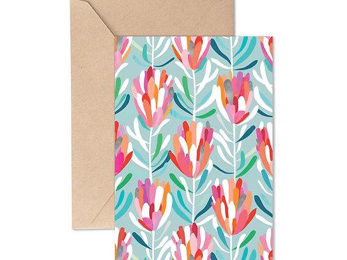 Greeting Card - Protea Aqua