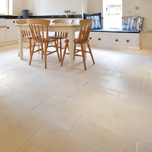 Bergamo Limestone Tumbled Finish, French Pattern, Price Per Sqm