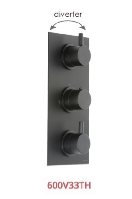 Cifial Black 3 Control Thermostatic Valve Vertical 3 Control