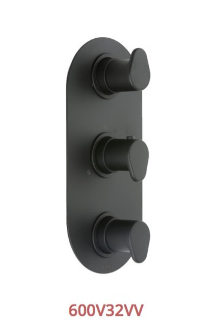 Cifial Black 3 Control Thermostatic Valve Vertical
