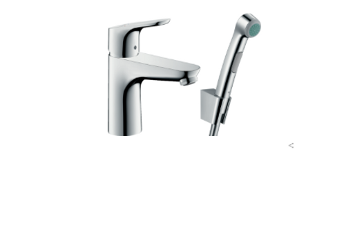 Hangrohe Focus Single lever basin mixer 100 with bidet spray and shower hose 160