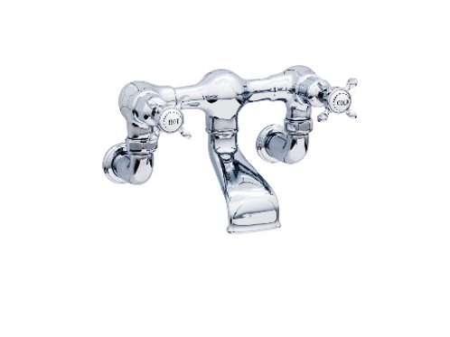 Perrin & Rowe Traditional Wall-Mounted Bath Filler with Crosstop Handles