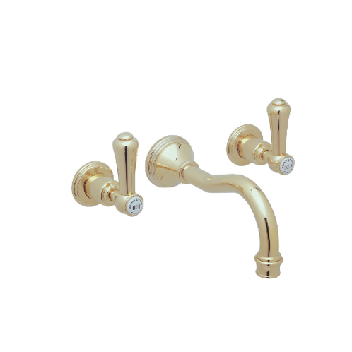 Perrin & Rowe Georgian Three-Hole Wall-Mounted Basin Mixer with Country Spout an