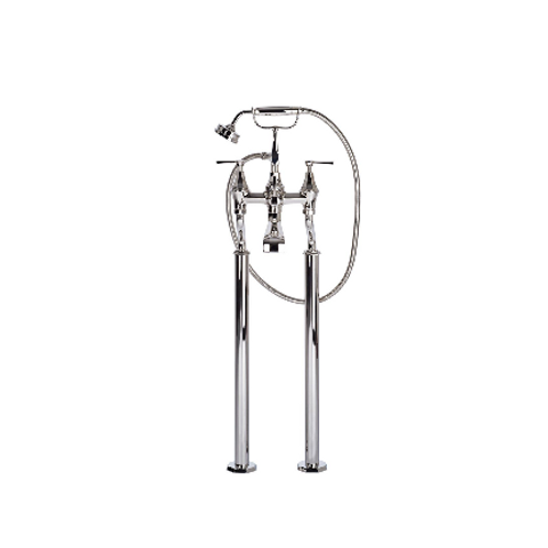 Perrin & Rowe Deco Floor-Mounted Bath-Shower Mixer with Handshower and Lever Han