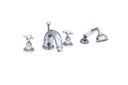 Perrin & Rowe Traditional Four-Hole Bath Set with Crosstop Handles and 180mm Spo