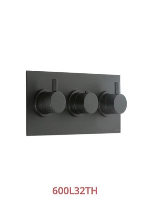 Cifial Black 3 Control Thermostatic Valve Landscape 2 outlets