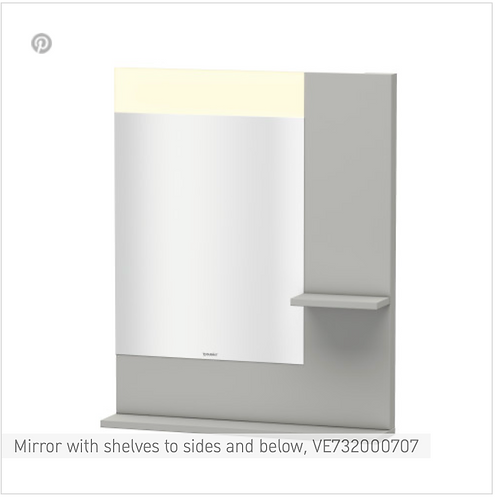 Vero Mirror with shelves to sides and below 650mm x 142mm