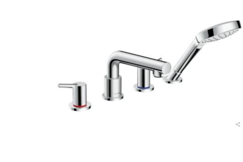 Hansgrohe Talis S 4-hole rim-mounted bath mixer with Secuflex