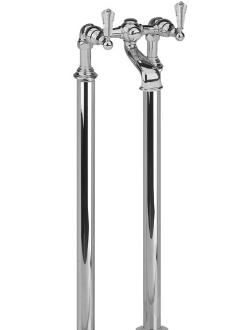 Ashbury 2 Hole Floor Standing Bath Filler Crystal