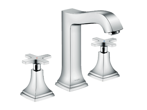 Hansgrohe Metropol Classic 3-hole basin mixer 160 with cross handles and pop-up