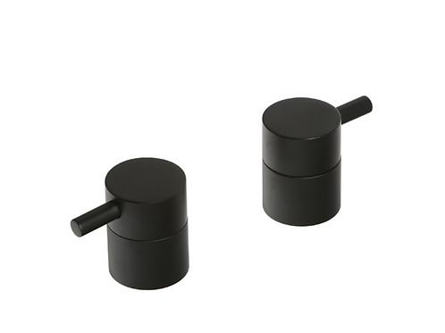 Black Pair Deck Bath Valves