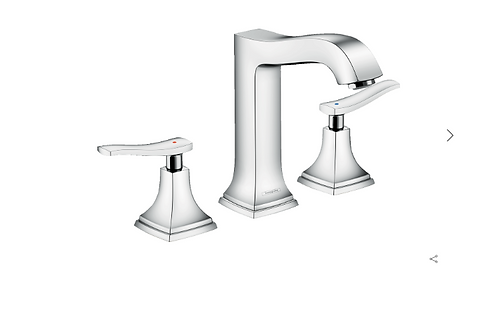 Hansgrohe Metropol Classic 3-hole basin mixer 160 with lever handles and pop-up