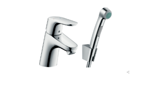 Hangrohe Focus Single lever basin mixer 70 with bidet spray and shower hose 160
