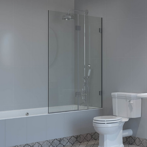 Shower Lab - View 14.2 F-Square Top Two Panel Folding Hinged Bath Screen 1500mm