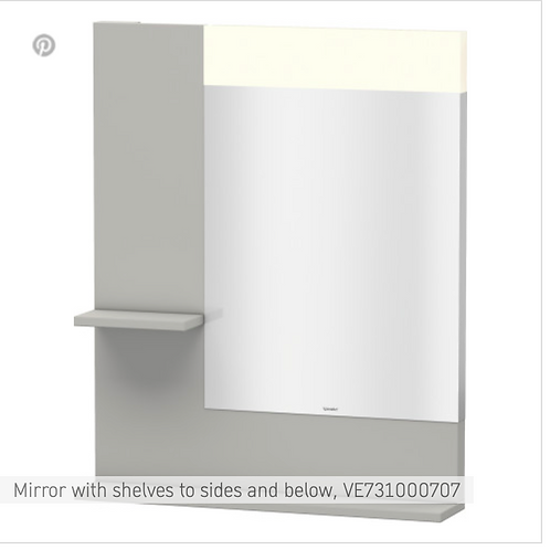 Vero Mirror with shelves to sides and below 650mmx 142mm