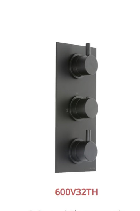 Cifial Black 3 Control Thermostatic Valve Vertical 2 Outlets