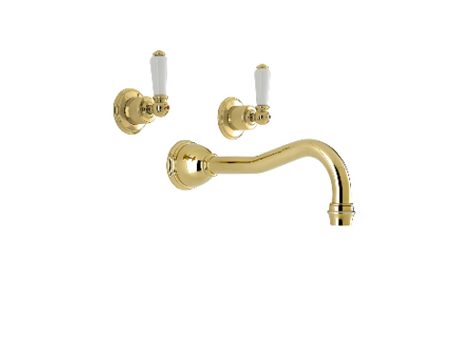 Perrin & Rowe Traditional Three-Hole Wall-Mounted Bath Set with Country Spout an