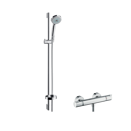Hansgrohe Croma 100 Shower system Multi with Ecostat Comfort thermostatic mixer