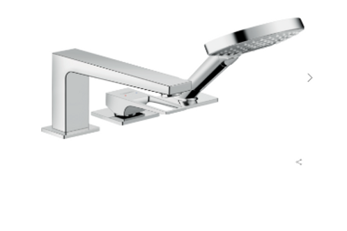 Hansgrohe Metropol 3-hole rim-mounted single lever bath mixer with loop handle a