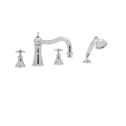 Perrin & Rowe Georgian Four-Hole Deck-Mounted Bath Set with Country Spout and Cr