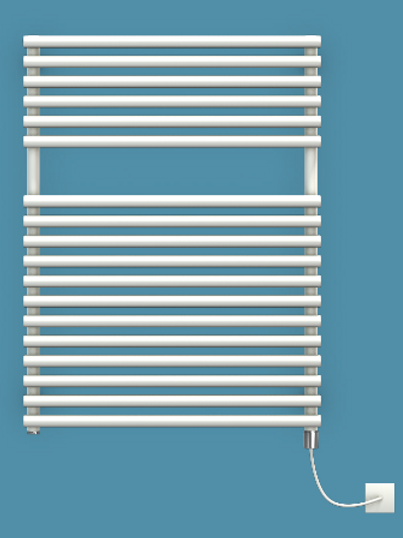 Bisque Straight Fronted 796mm x 596mm Towel Rail - Electric
