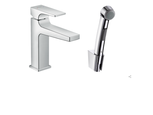 Hansgrohe Metropol Single lever basin mixer with lever handle with bidet spray a