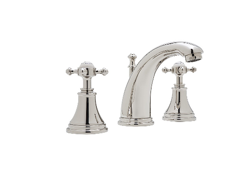 Perrin & Rowe Georgian Three-Hole Basin Mixer with High Neck Spout and Crosstop