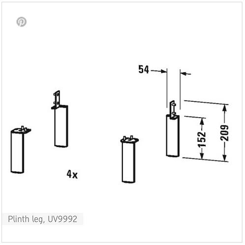 Accessories Plinth Leg 152 x 44 x 10 mm