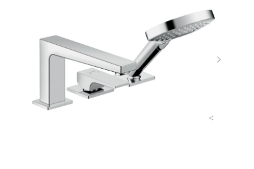 Hansgrohe Metropol 3-hole rim-mounted single lever bath mixer with lever handle