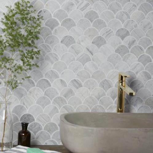 Baobab Silver Blue Limestone Scallop Mosaic 27.5 x 29cm Price Per Sqm