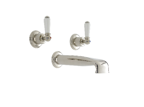 Perrin & Rowe Traditional Three-Hole Wall-Mounted Bath Set with Low Profile Spou