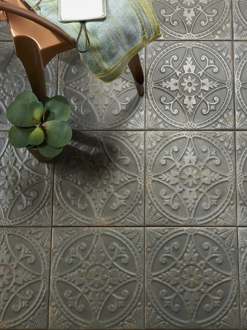 Brooklyn Embossed Ceramic Pewter 33 x 33cm Price Per Sqm