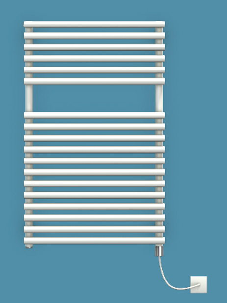 Bisque Straight Fronted 796mm x 496mm Towel Rail - Electric