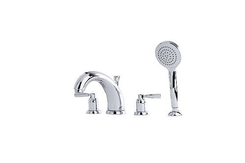 Perrin & Rowe Contemporary Four-Hole Bath Set with Lever Handles, 175mm Spout an