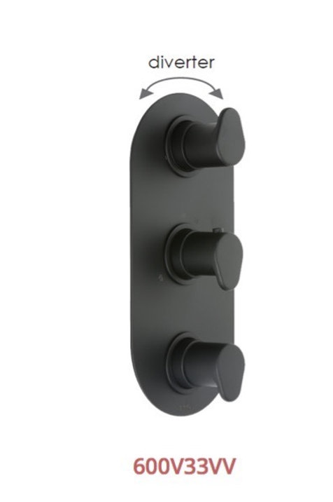Cifial Black 3 Control Thermostatic Valve Vertical 3 Outlets