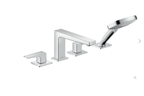 Hansgrohe Metropol 4-hole rim-mounted bath mixer with lever handle