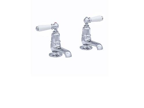Perrin & Rowe Traditional Pair of Basin Pillar Taps with Lever Handles