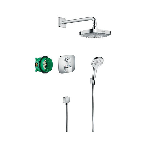 Hansgrohe Croma Select E Shower system with Ecostat E thermostatic mixer for con