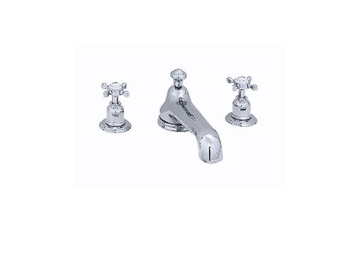 Perrin & Rowe Traditional Three-Hole Bath Set with Low Profile Spout and Crossto