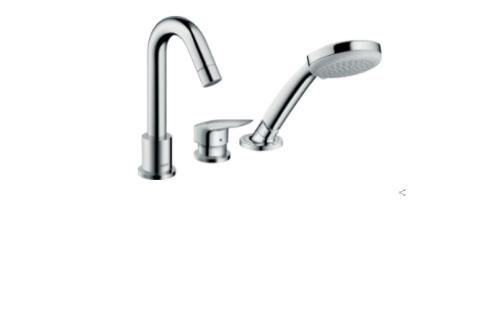 Hansgrohe Logis 3-hole rim-mounted single lever bath mixer with Secuflex